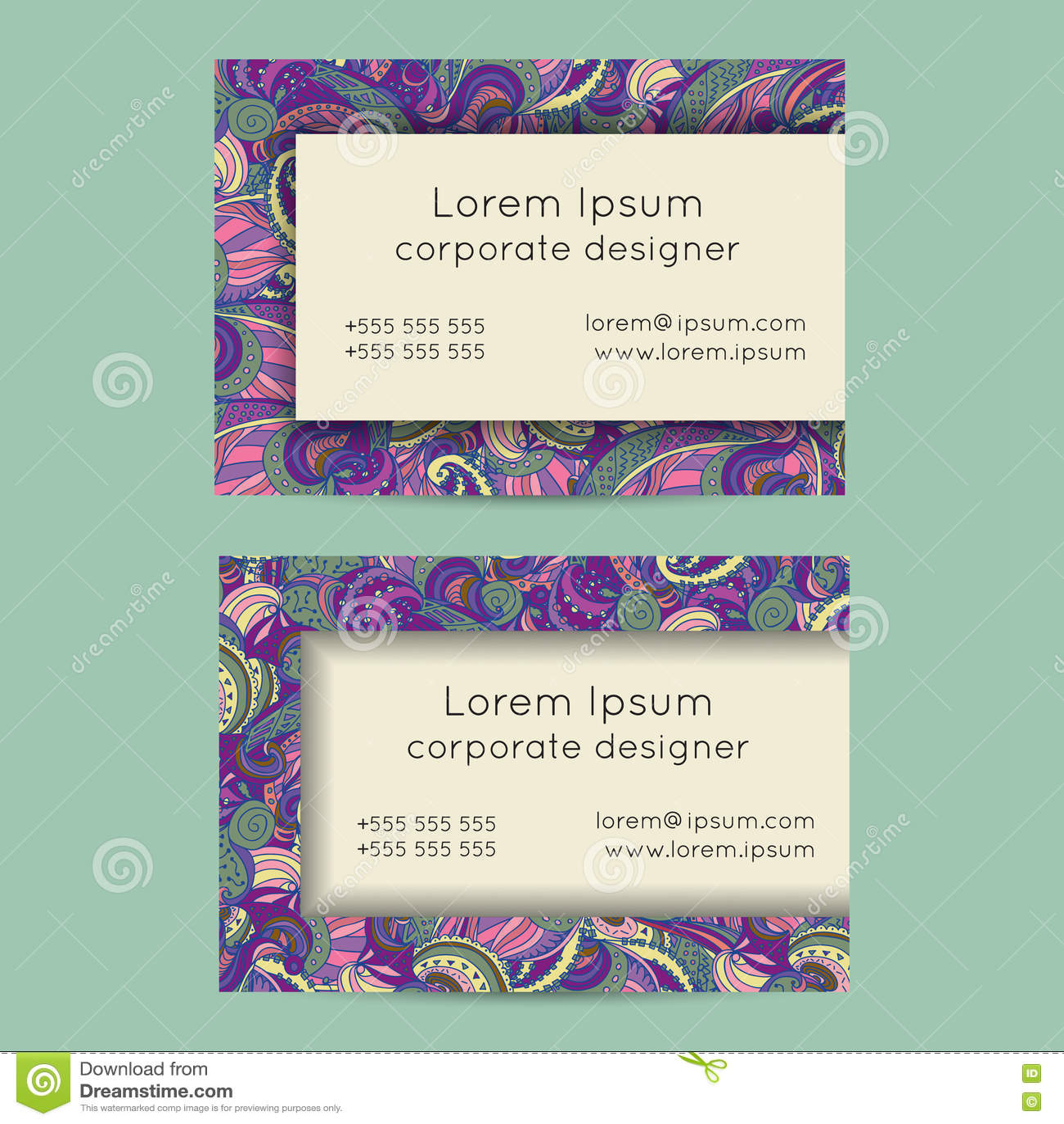 Boho paisley business cards templates stock vector image 70015577 boho business card doodle drawn feminine hand paisley magicingreecefo Images
