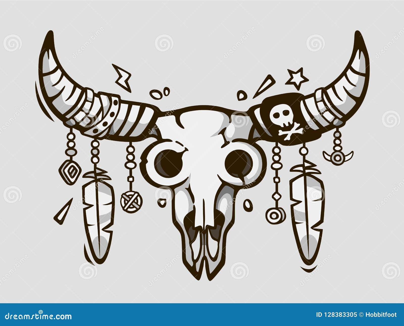Boho stil Etnisk tatueringstil Indian- eller mexikantjurskalle med fjädrar på horn