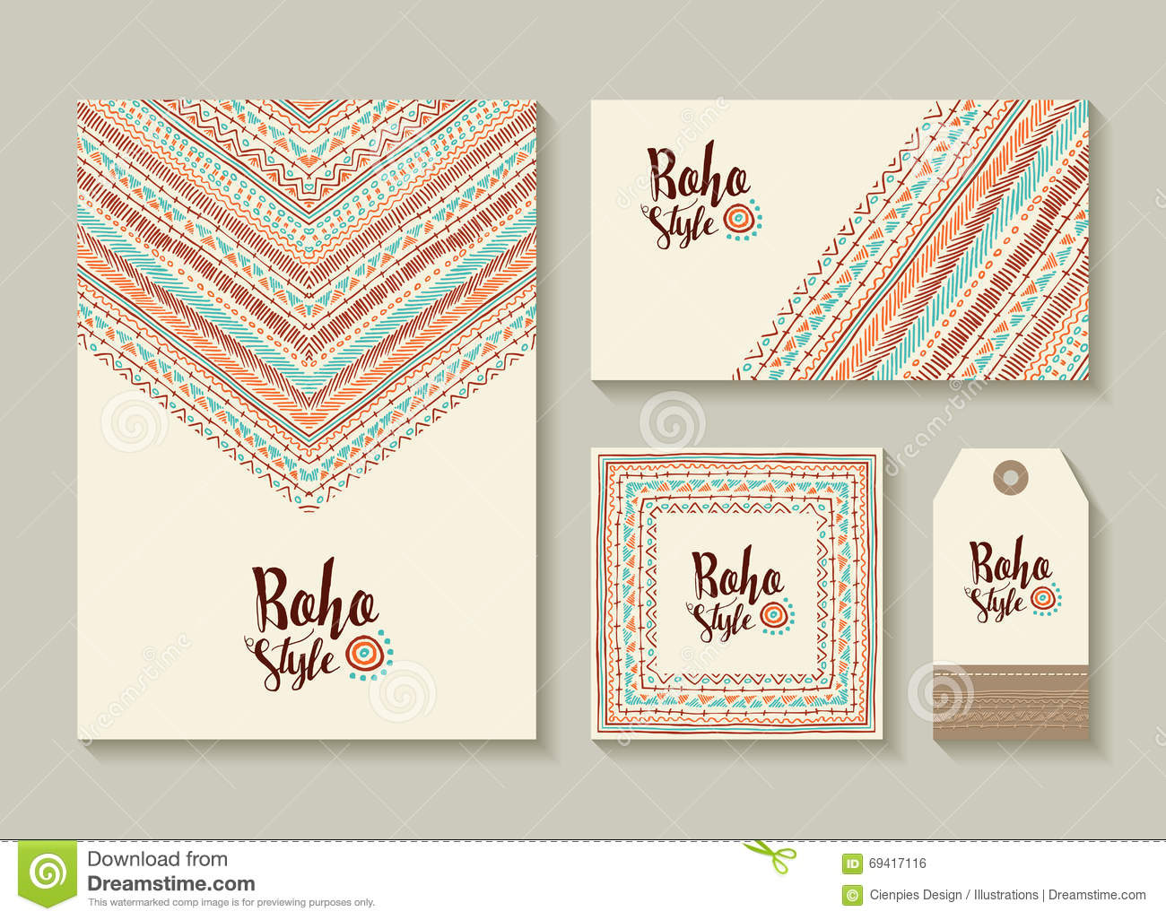 Boho Style Card And Tag Designs With Colorful Art Stock