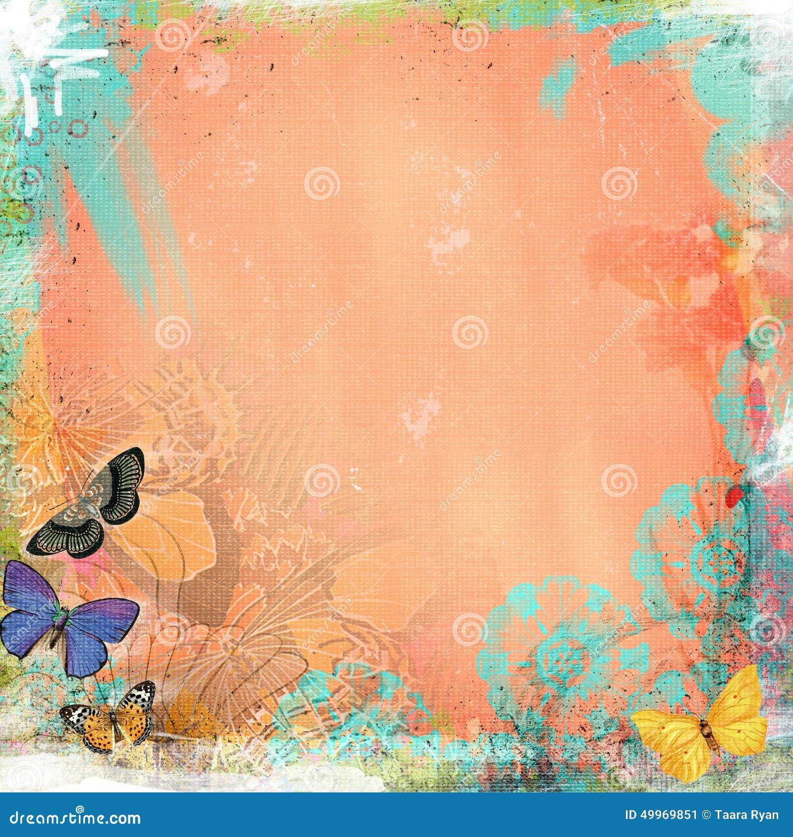 Z Coral Card Boho Teatime Grunge Pa...