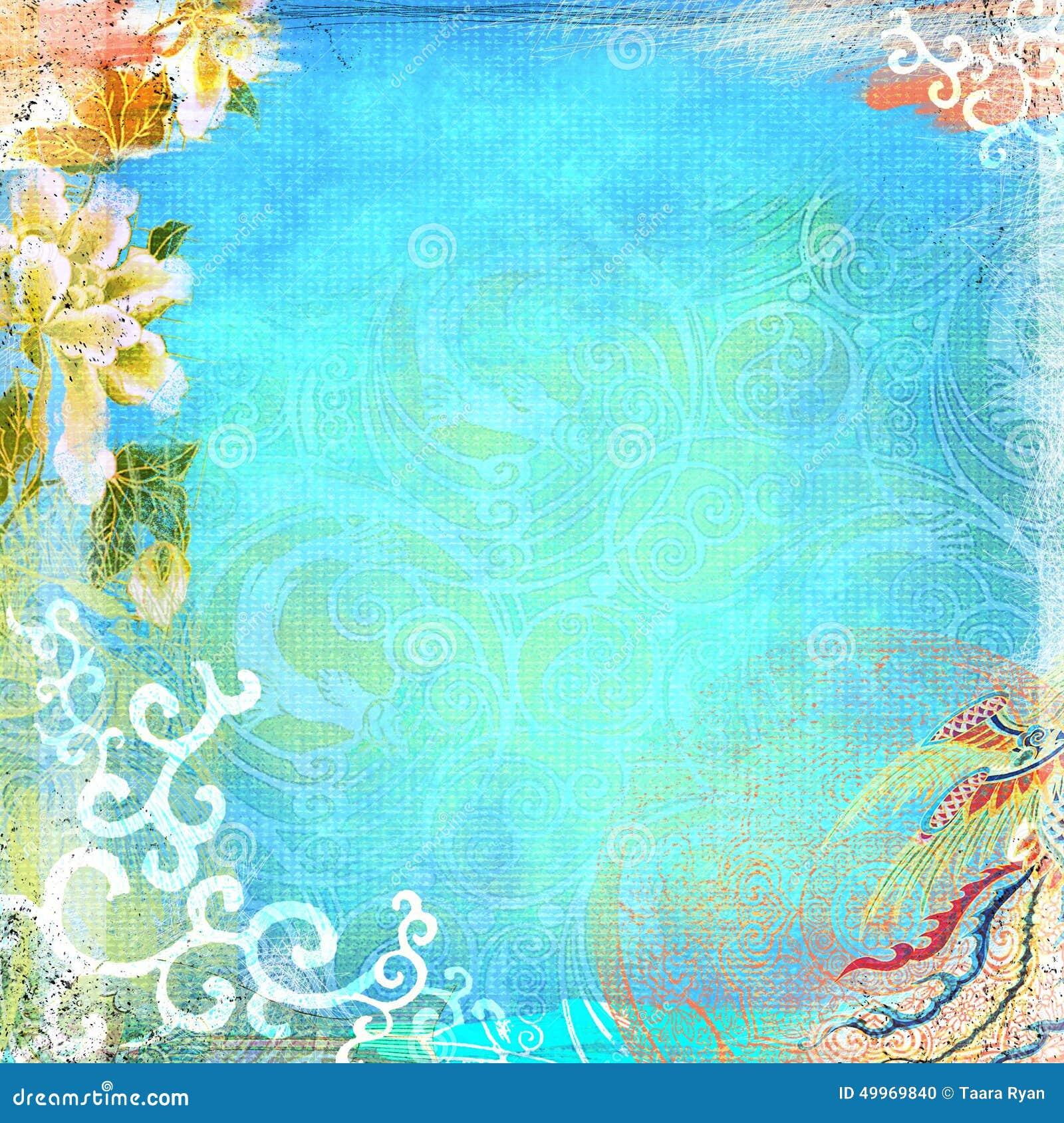 Boho Teatime Grunge Paper Background Turquoise