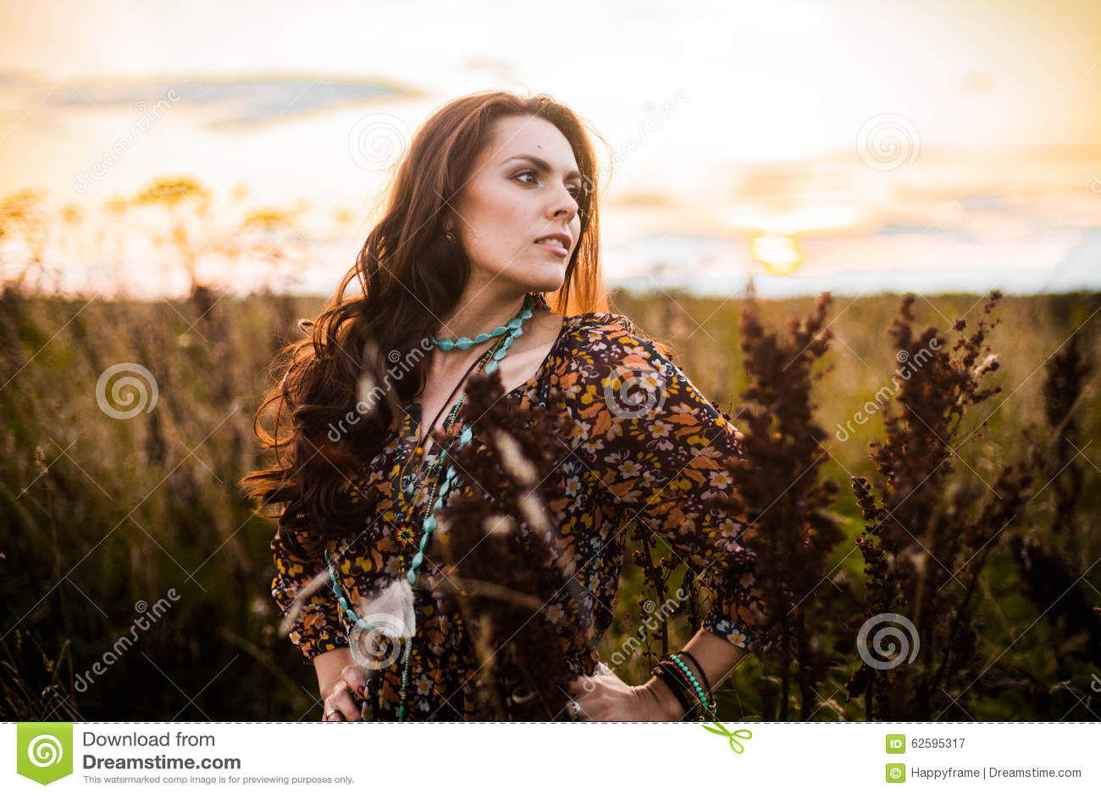 Boho woman in field