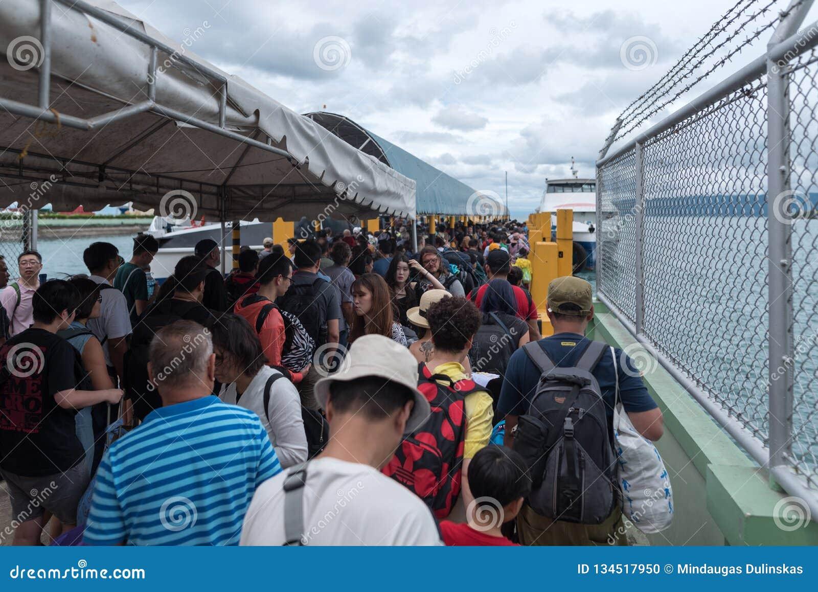 BOHOL, ΦΙΛΙΠΠΊΝΕΣ - 14 ΦΕΒΡΟΥΑΡΊΟΥ 2018: Πύλη στο λιμένα Tagbilaran στις Φιλιππίνες, νησί Bohol