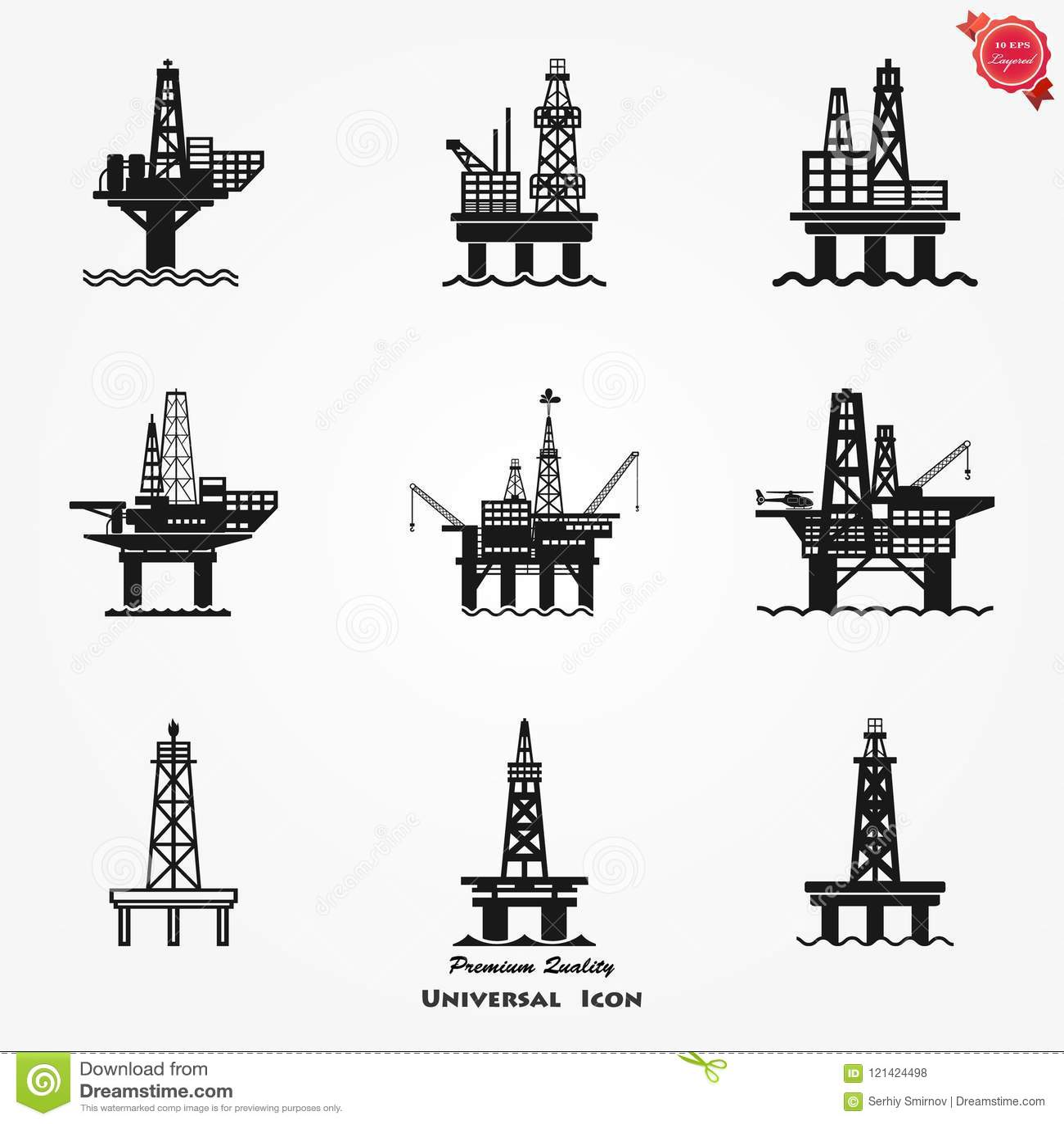 Bohrinselikone für Netz, Gas Meer Rig Platform Illustration, Brennstoff Produktions-Symbol