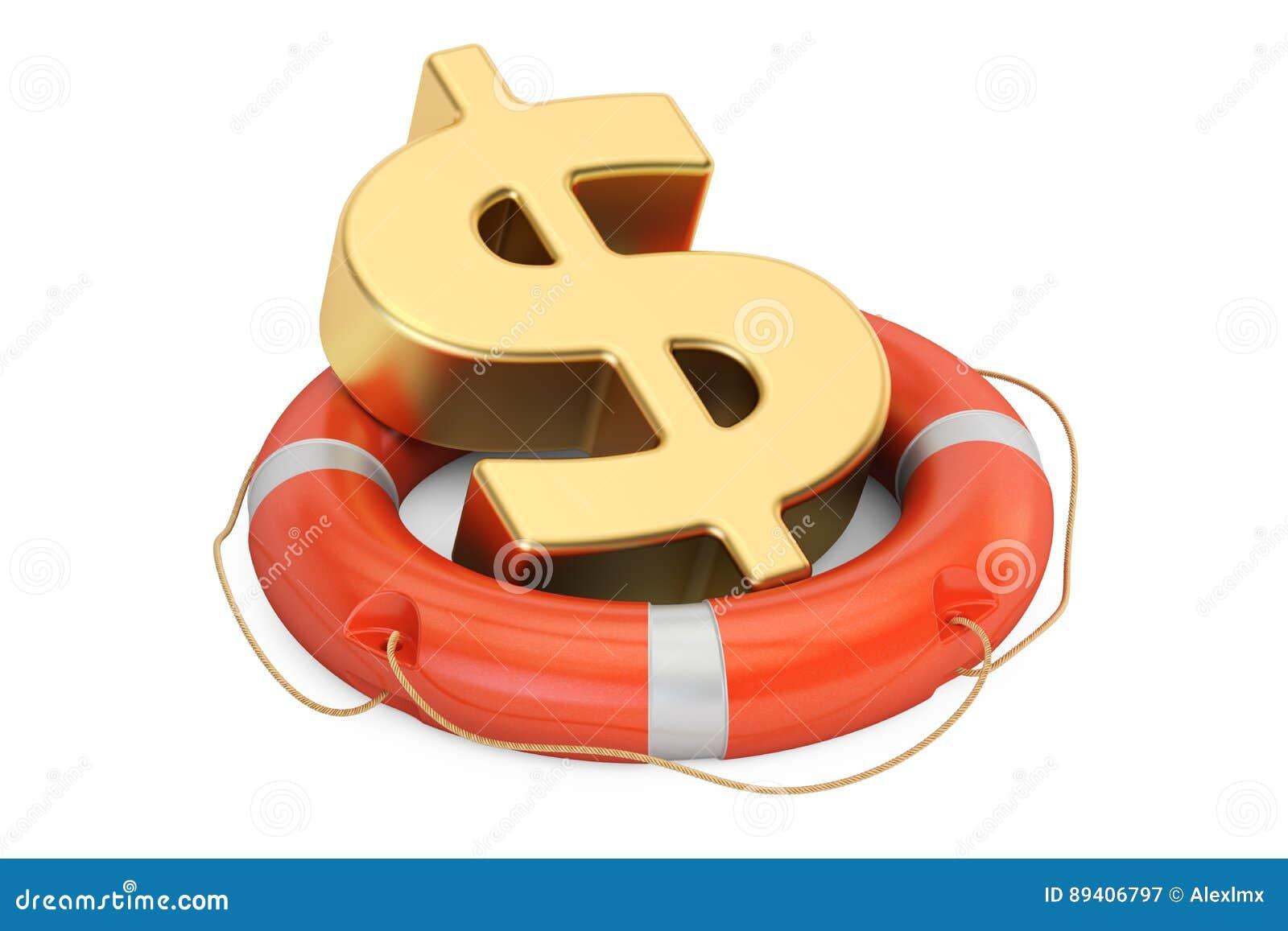 Boia salva-vidas com símbolo dourado do dólar, rendição 3D