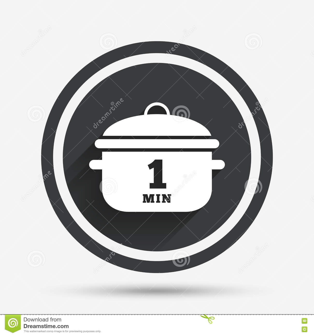 Boil 1 minute. Cooking pan sign icon. Stew food.