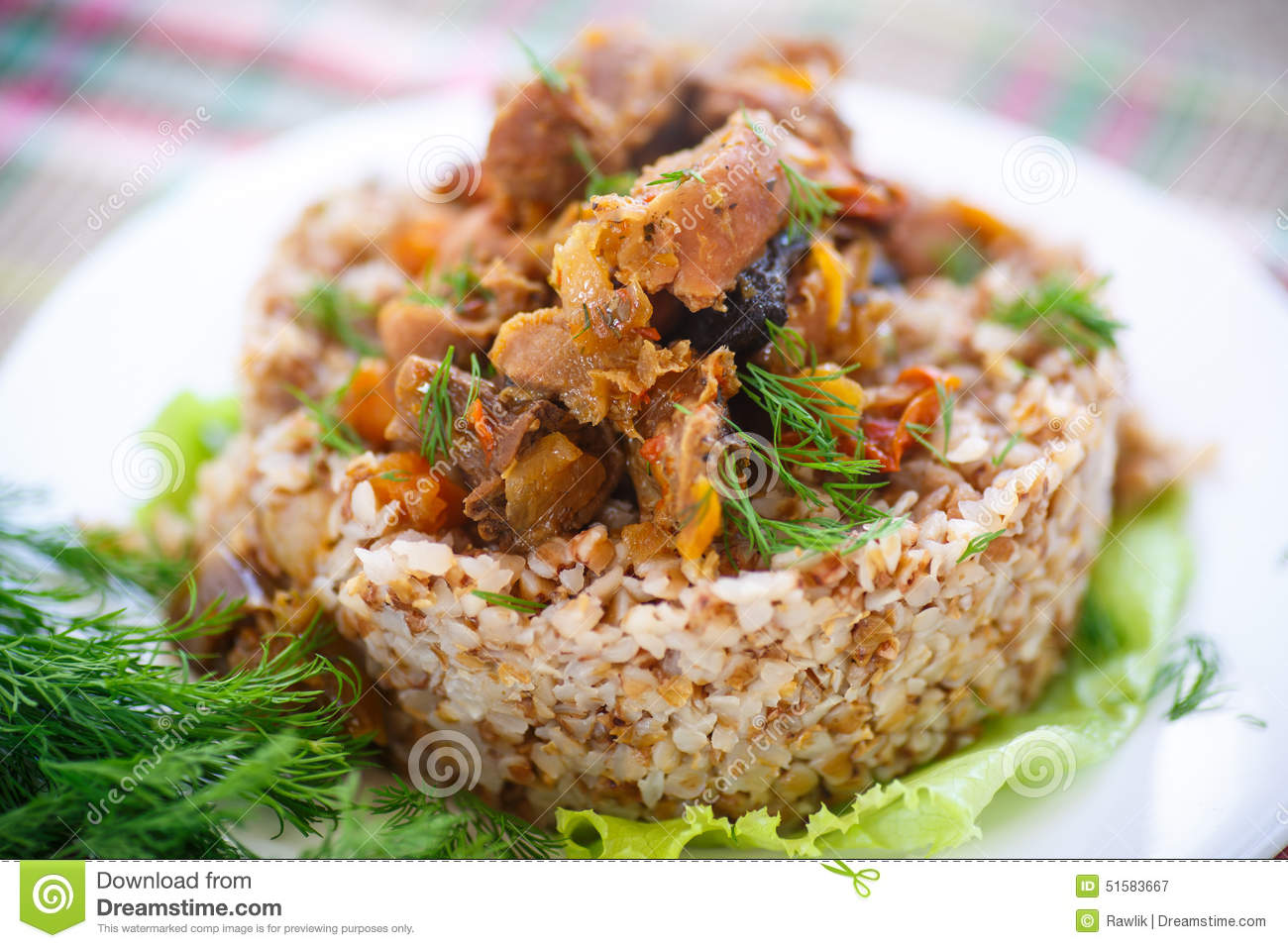 Boiled Buckwheat With Stewed Chicken Gizzards Stock Image