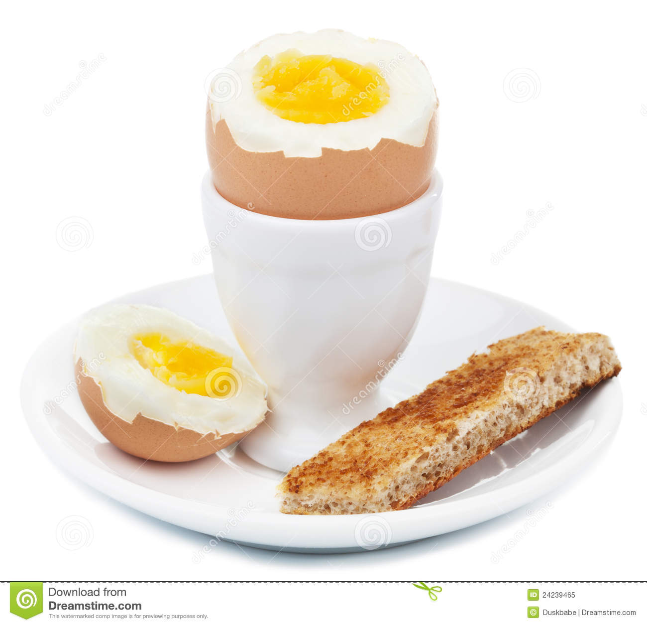 Boiled egg in eggcup isolated