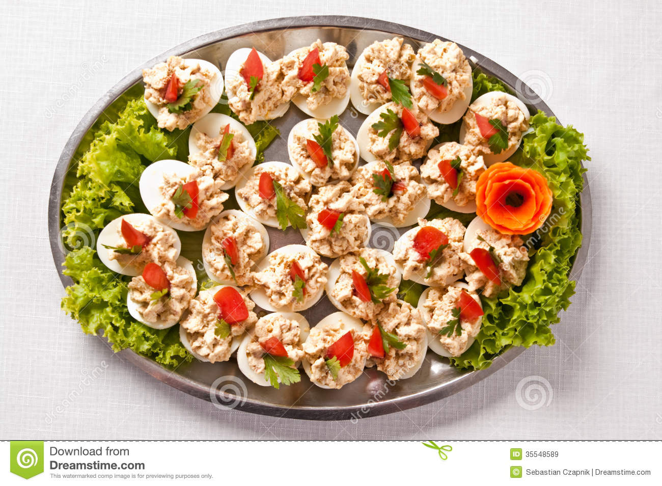 Boiled eggs with fish cream topping
