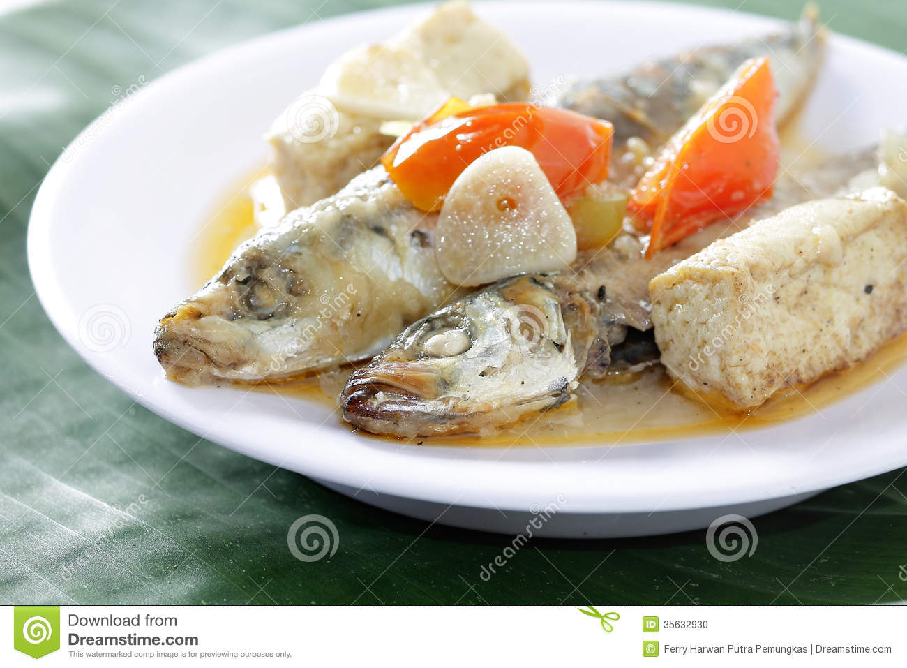 Boiled fish dishes stock photo image of grilled bass for Authentic indonesian cuisine