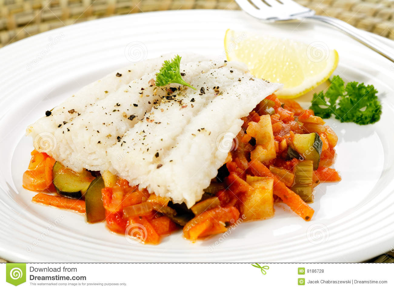 Boiled fish with vegetable salad royalty free stock photos for Fish with vegetables