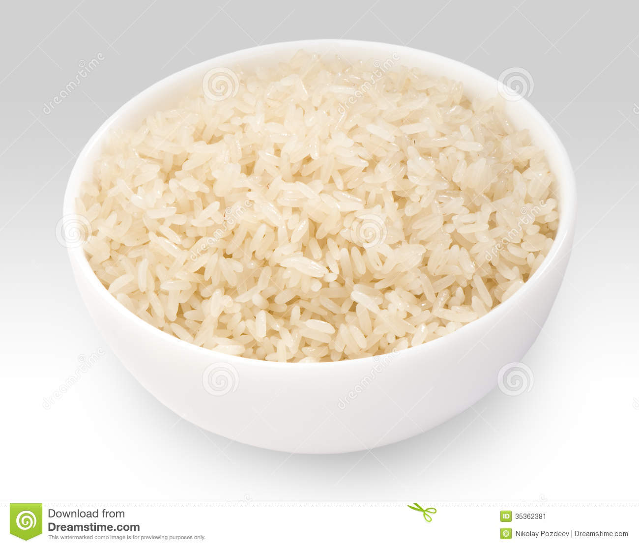 Boiled Long Grain Rice In White Bowl Close Up Stock Image