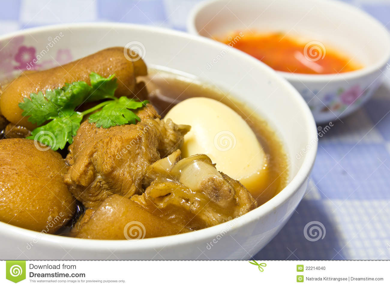 Stock Photo: Boiled pork with eggs.