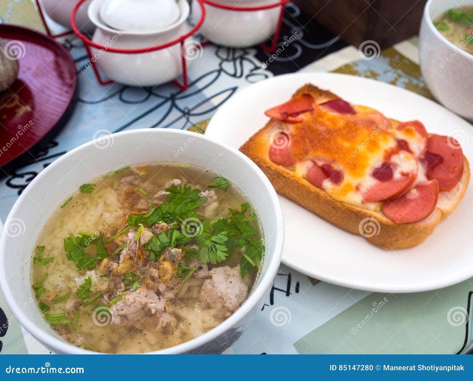 Boiled rice pork for breakfast in the morning