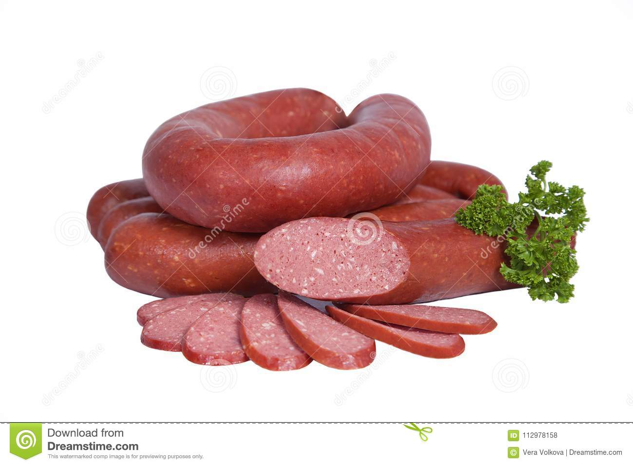 Boiled and smoked sausage in natural shell. Isolated on white background