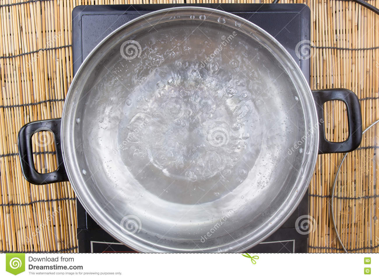Boiled water in pot