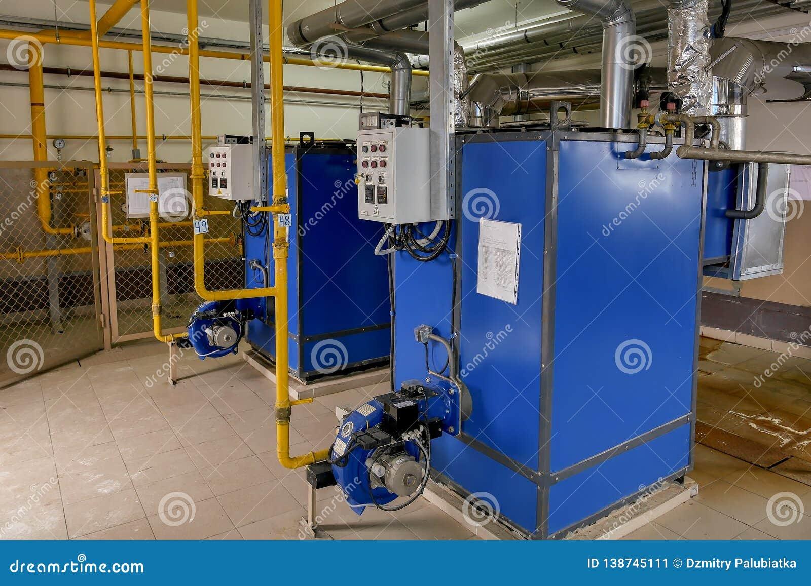 Boiler room of the enterprise. Gas boilers for heating