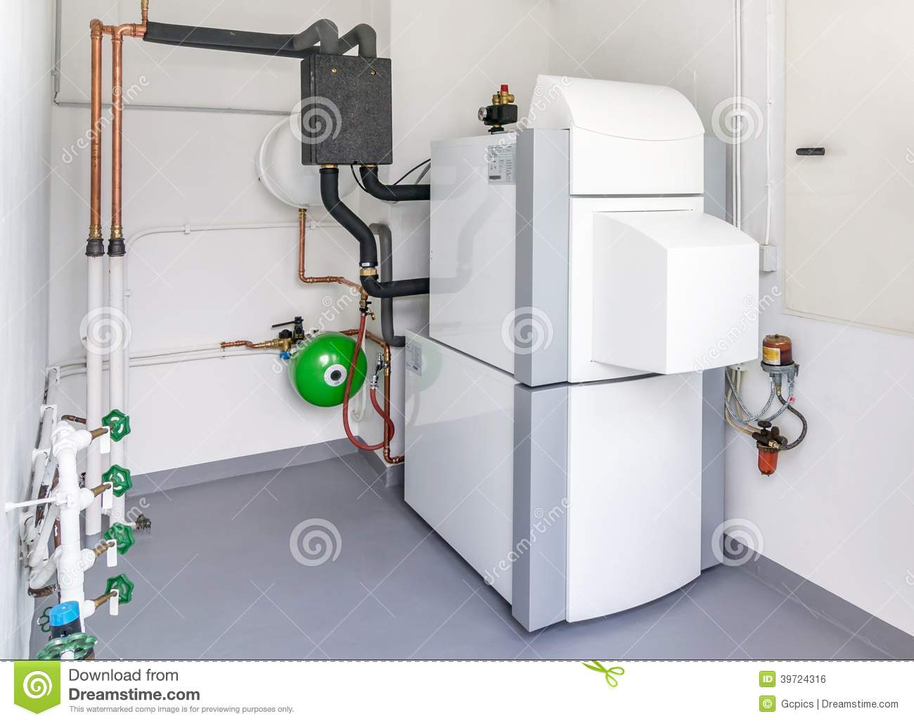 A Boiler Room With Heating System Stock Photo Image
