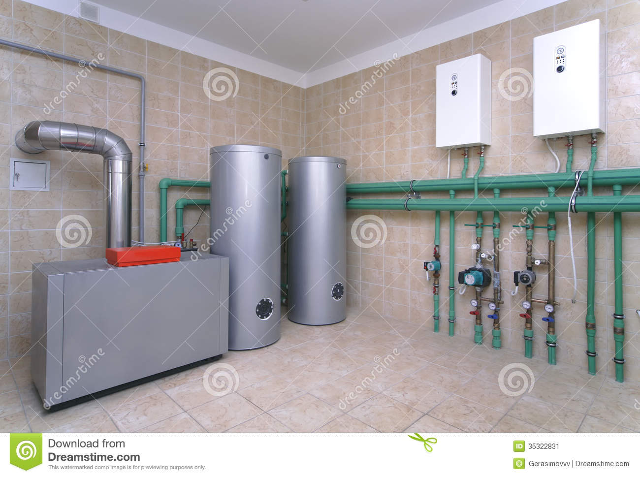 Boiler room stock image image 35322831 for Heating systems for houses