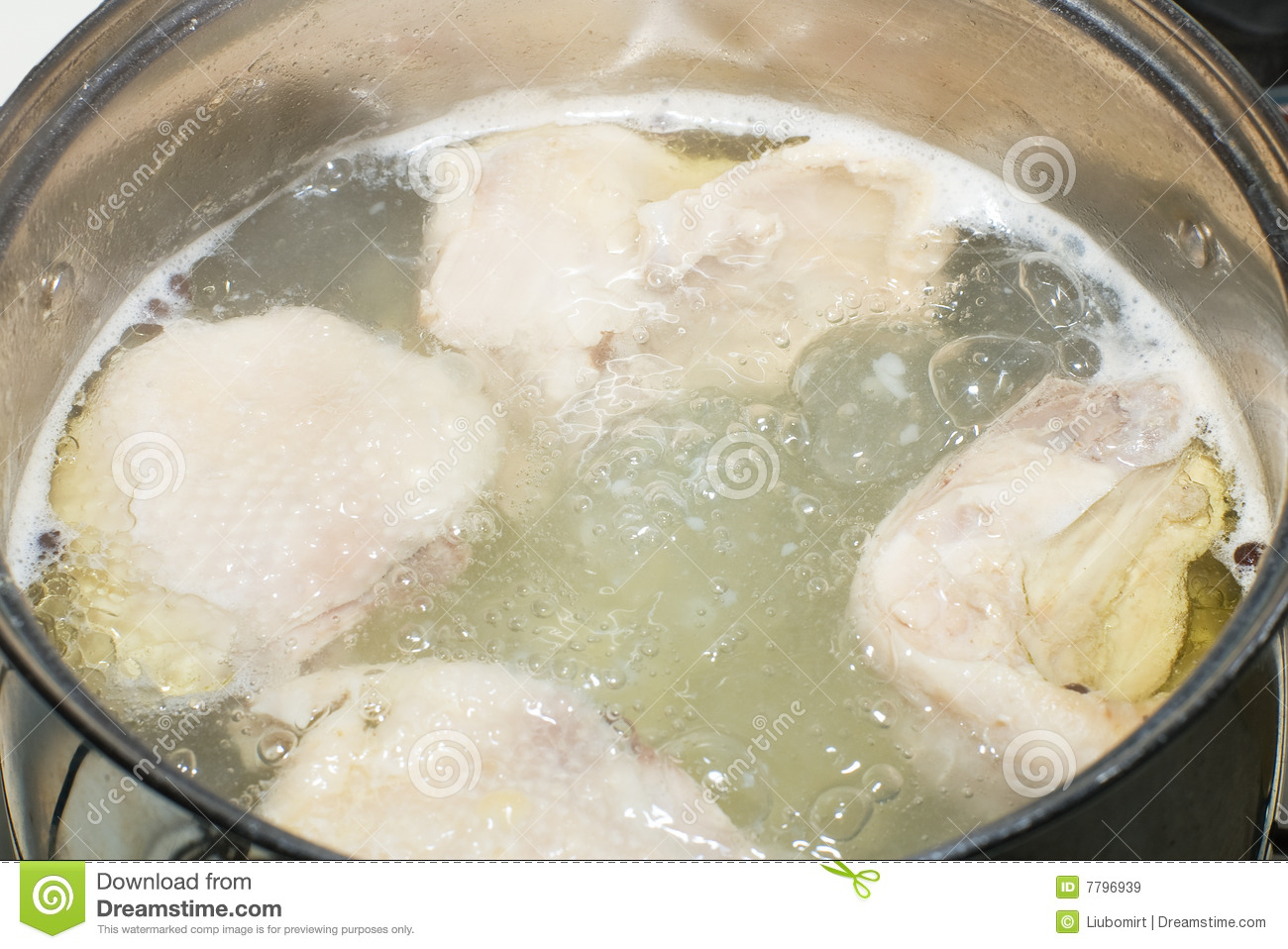 Boiling chicken soup stock image. Image of delicious ...