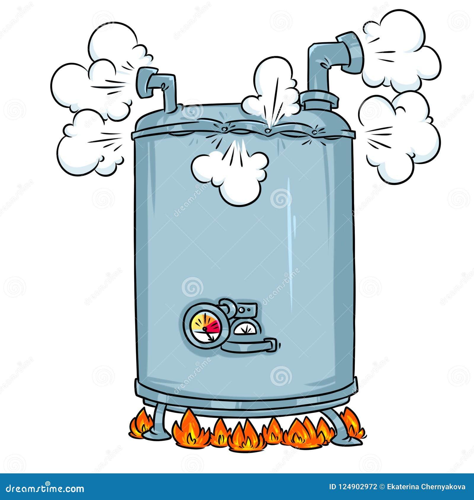 Boiling Steam Boiler Cartoon Illustration Stock Illustration ...