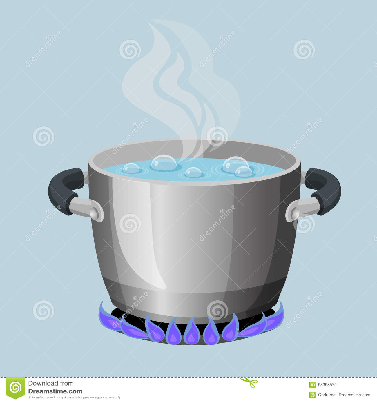 Boiling Water In Aluminium Pot On Gas Flame Realistic ...