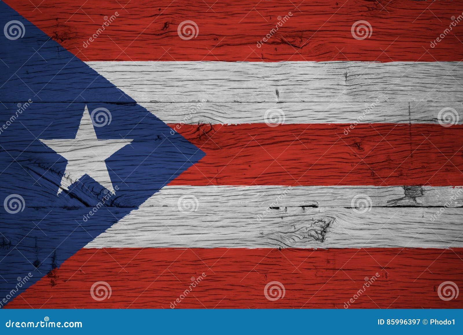 Bois de chêne peint de drapeau national du Porto Rico vieux