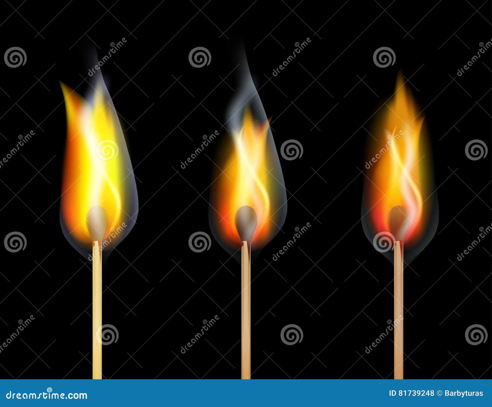 Bois de match de brûlure du feu rouge sur le fond noir