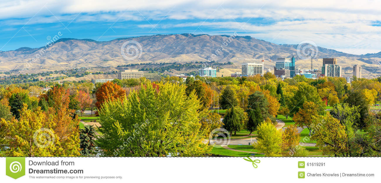 Boise Idaho autumn skyline stock image. Image of idaho - 61619291