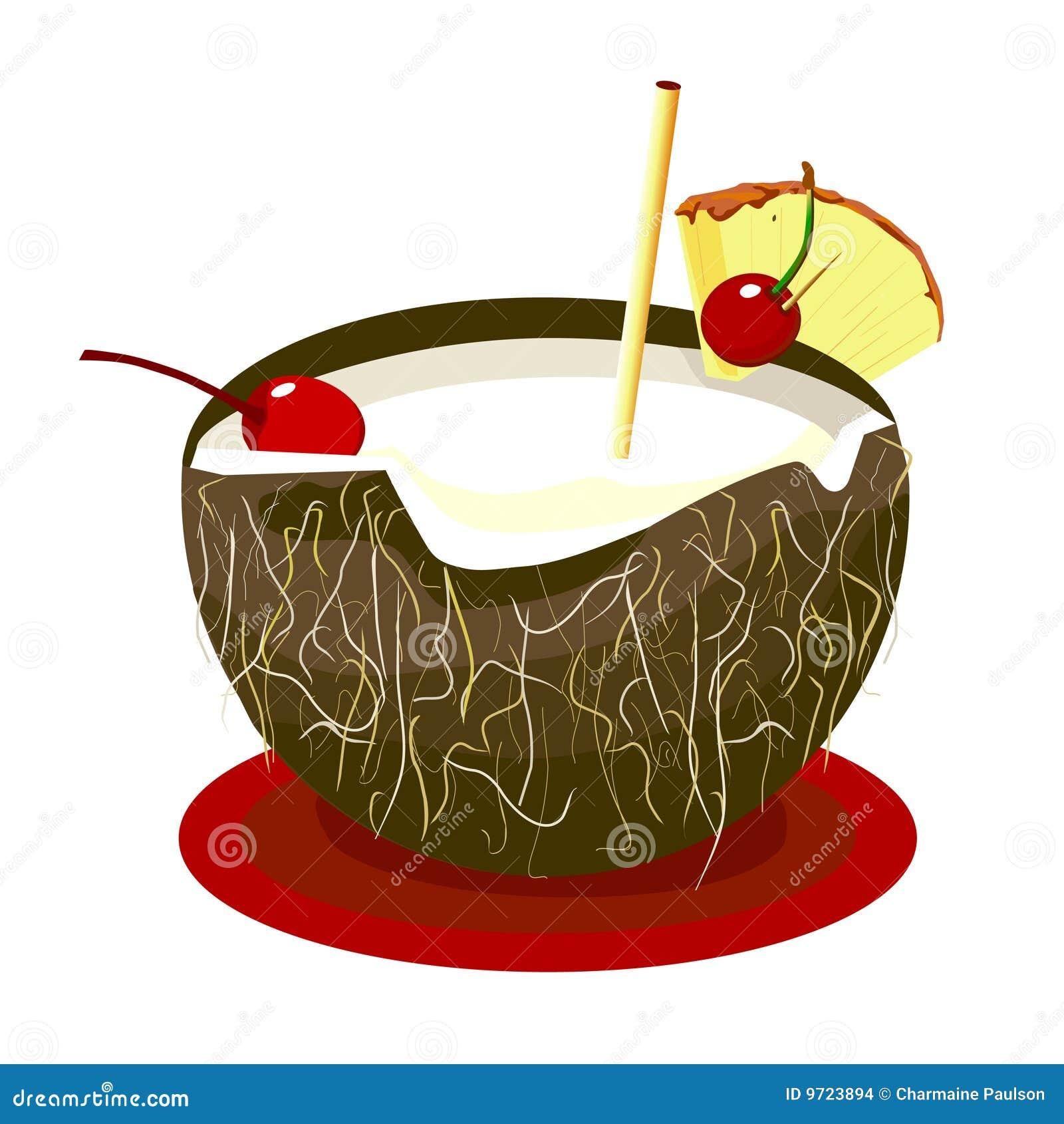 Boisson de noix de coco illustration de vecteur - Dessin noix de coco ...