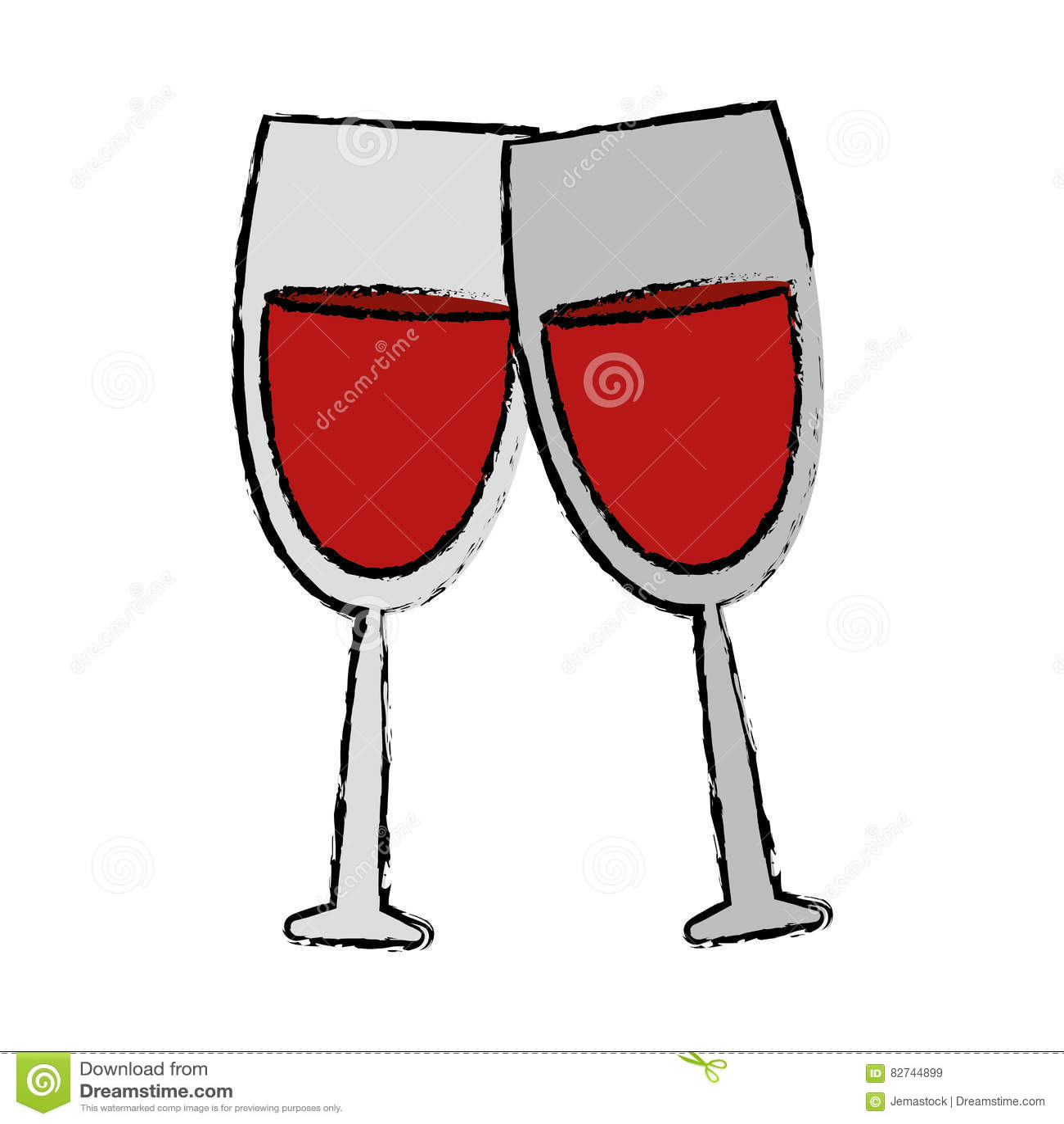 Boisson en verre de dessin du vin deux rouge illustration de vecteur illustration du glace - Verre de vin dessin ...