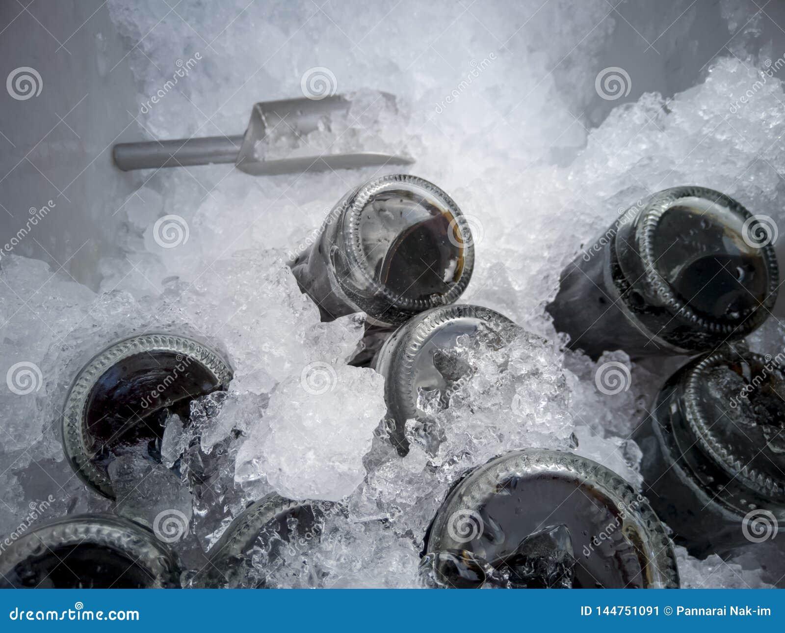 Boisson non alcoolisée ou kola dans le seau à glace pour que boire éteigne la soif