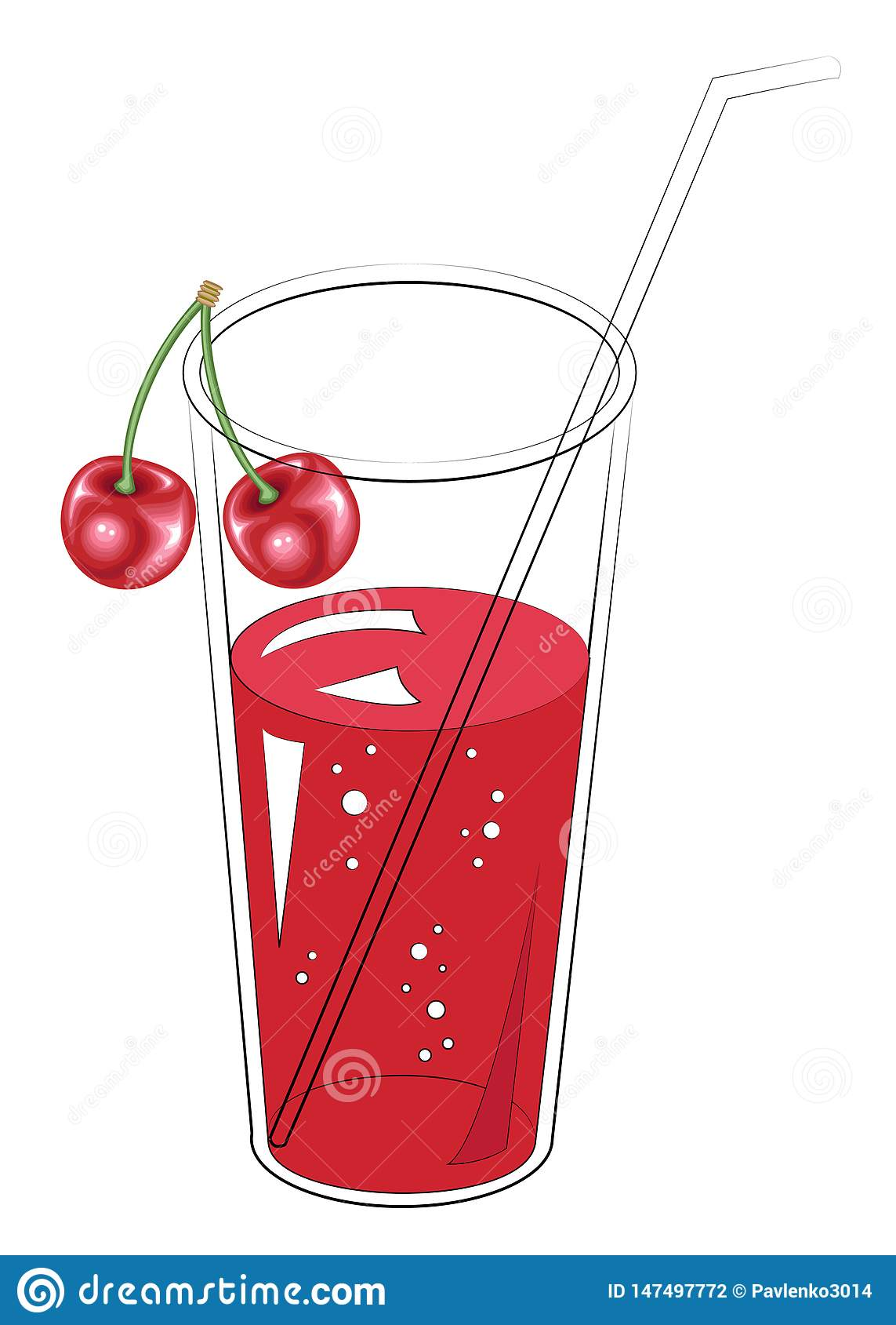 Boisson saine r?g?n?ratrice d?licieuse Un verre de jus de fruit naturel Conception de baie de cerise Illustration de vecteur