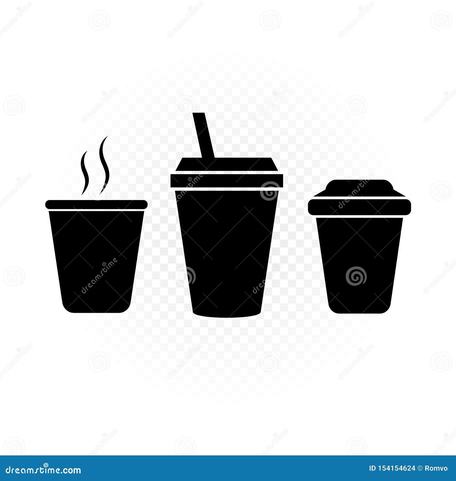 Boissons en silhouette en plastique de signe de tasse