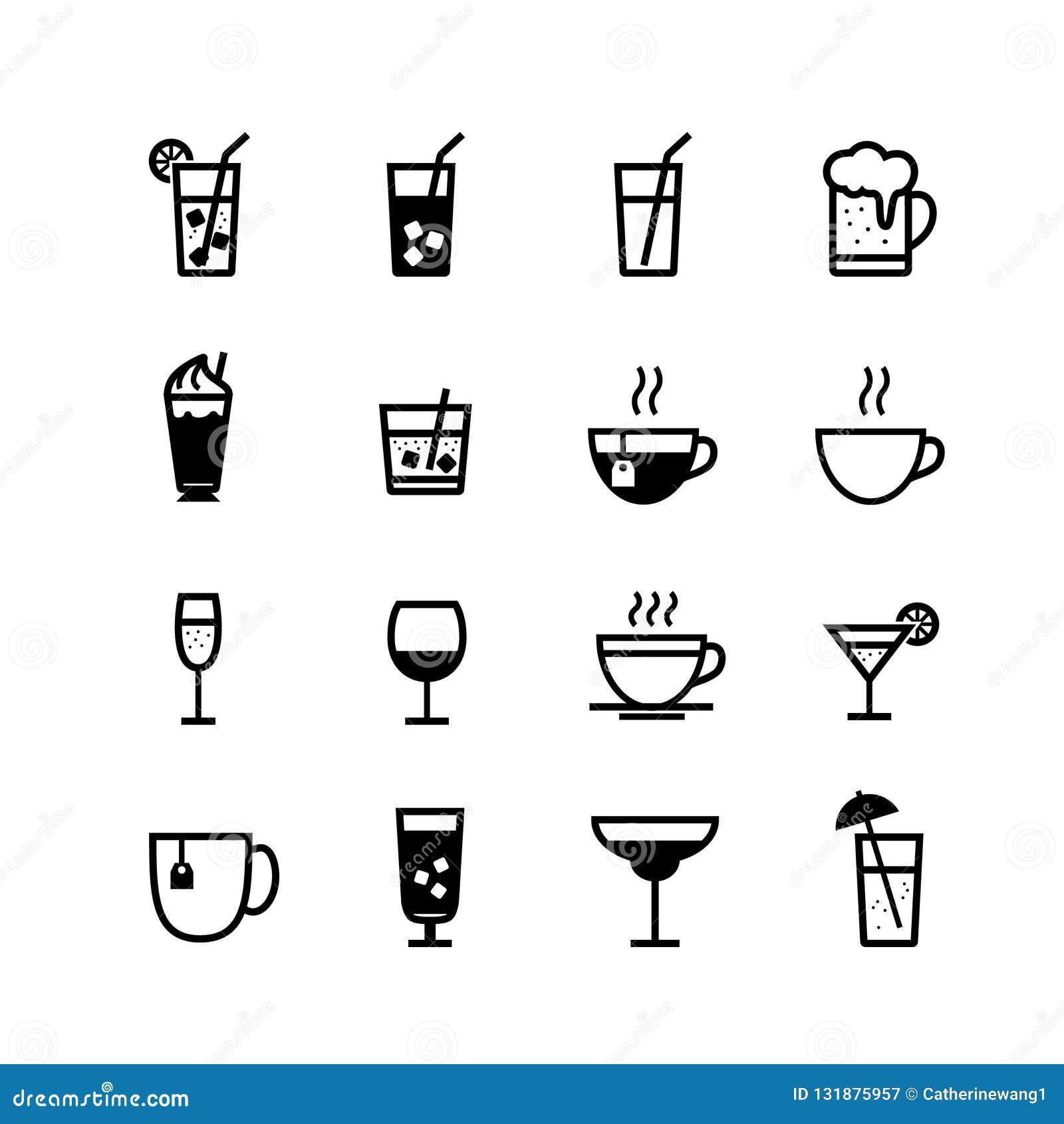 Boissons et ensemble d icône de boissons