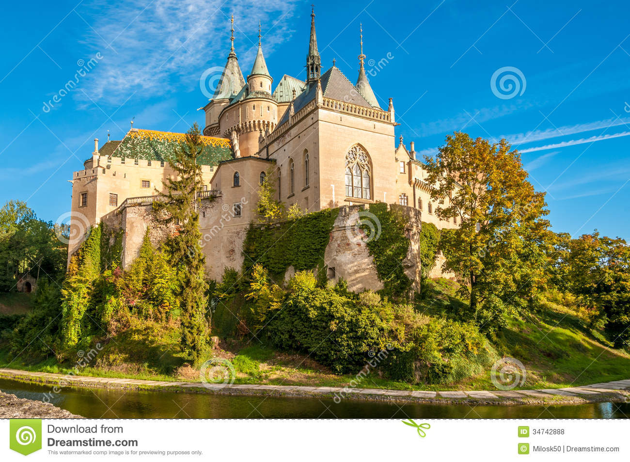 Bojnice Castle With A Moat Stock Photo Image Of Mirror