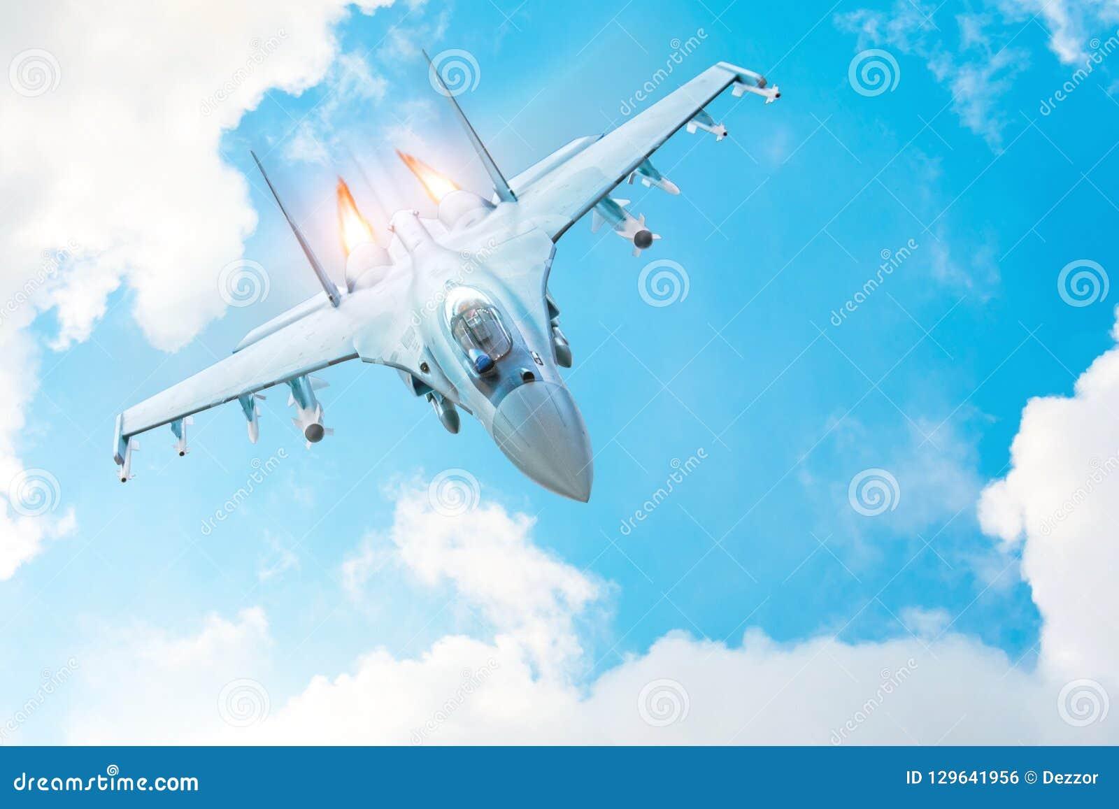 Bojowy myśliwiec na misji wojskowej z broniami - rakiety, bomby, bronie na skrzydłach, z pożarniczego dopalacza parowozowymi nozz