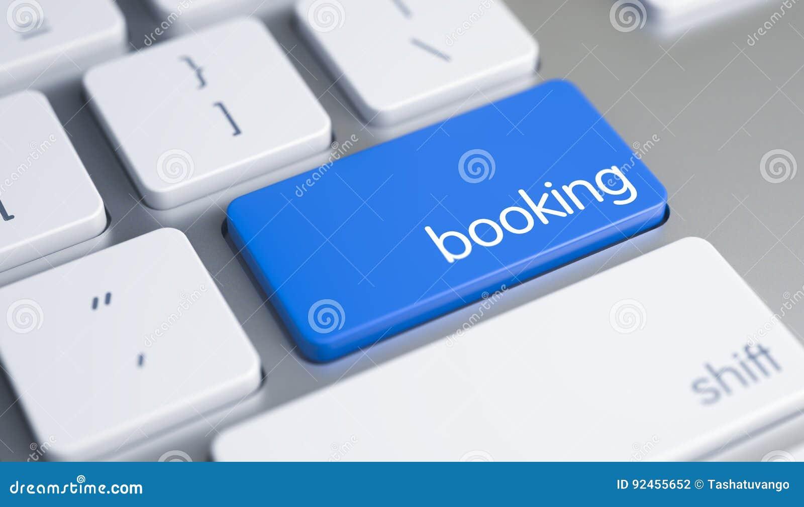Boka - överskrift på den blåa tangentbordknappen 3d