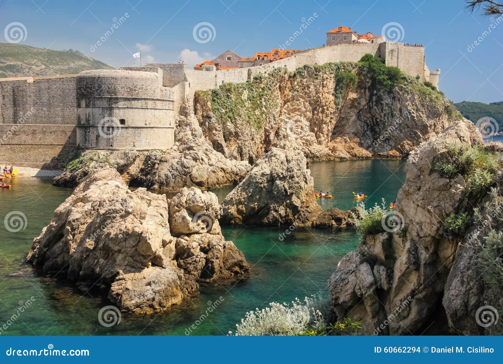 Bokar堡垒和市墙壁 杜布罗夫尼克市 克罗地亚