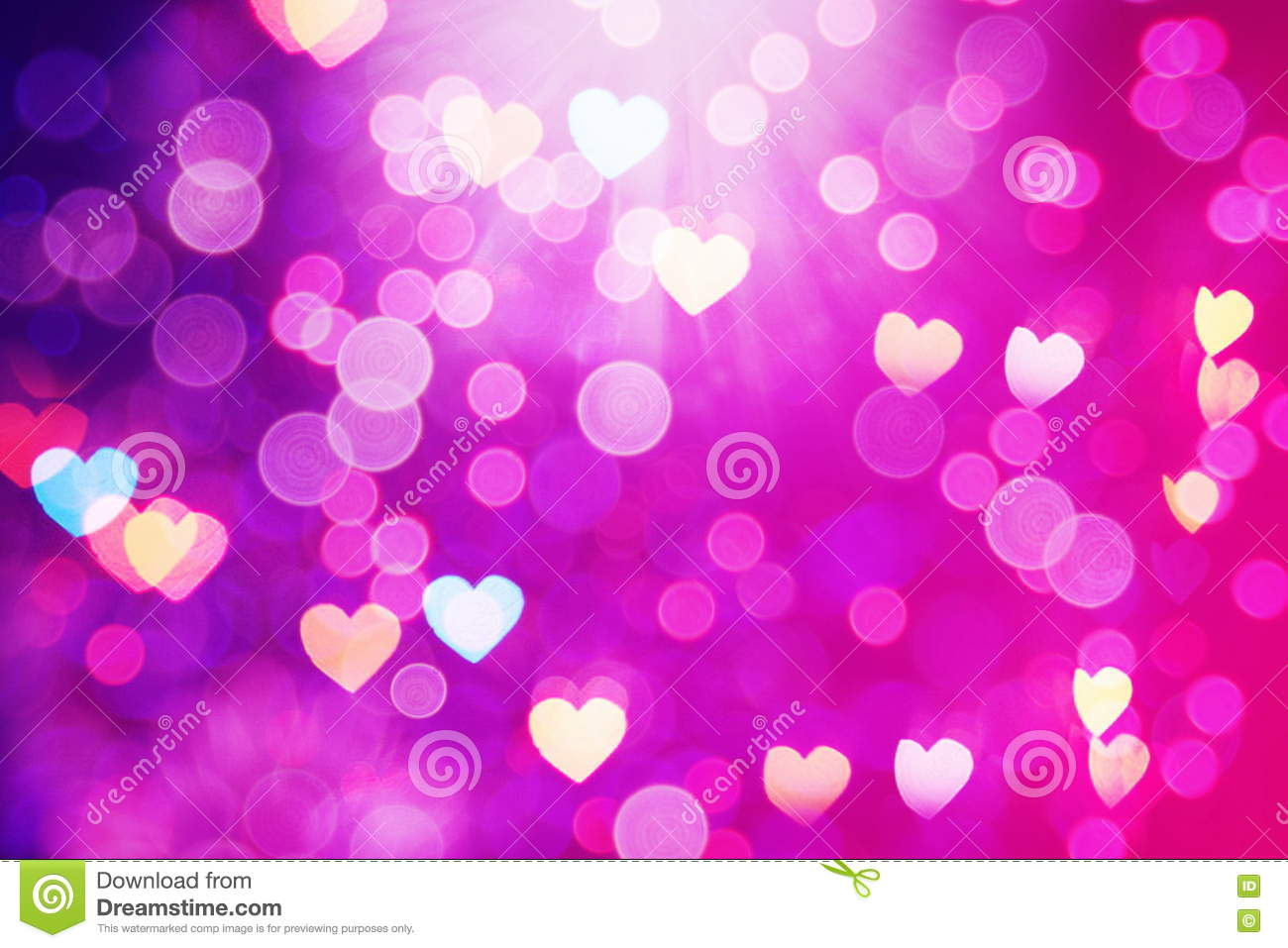 bokeh background pink purple hearts circles stock photo