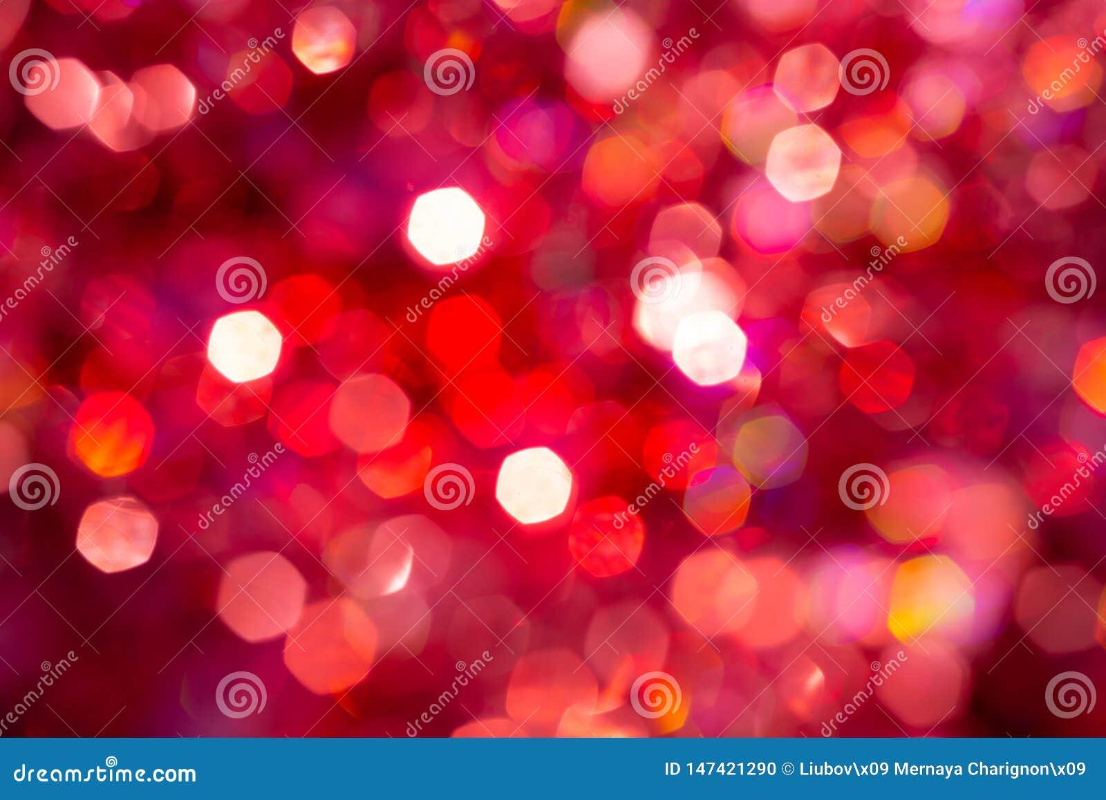 Bokeh di struttura della sfuocatura del fondo, viola, giallo, rosa, sei lati, giro Fondo rosso astratto Defocused di natale