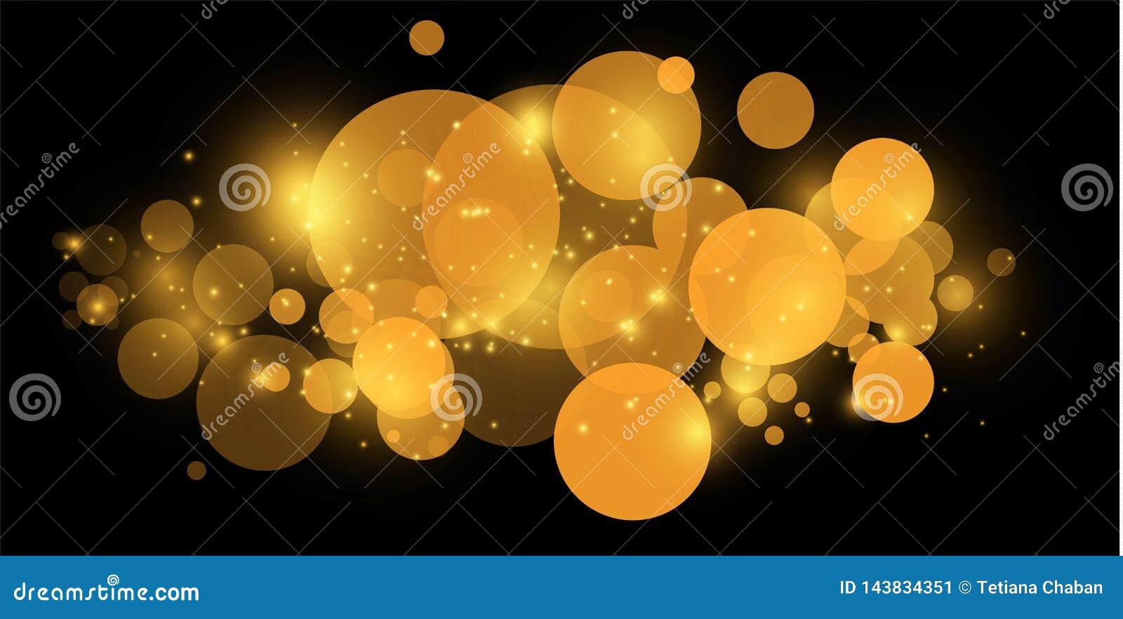 Bokeh jaune Le résumé du fond de bokeh de lumière de cercle lumières d or de fond Concept de lumières de Noël Vecteur