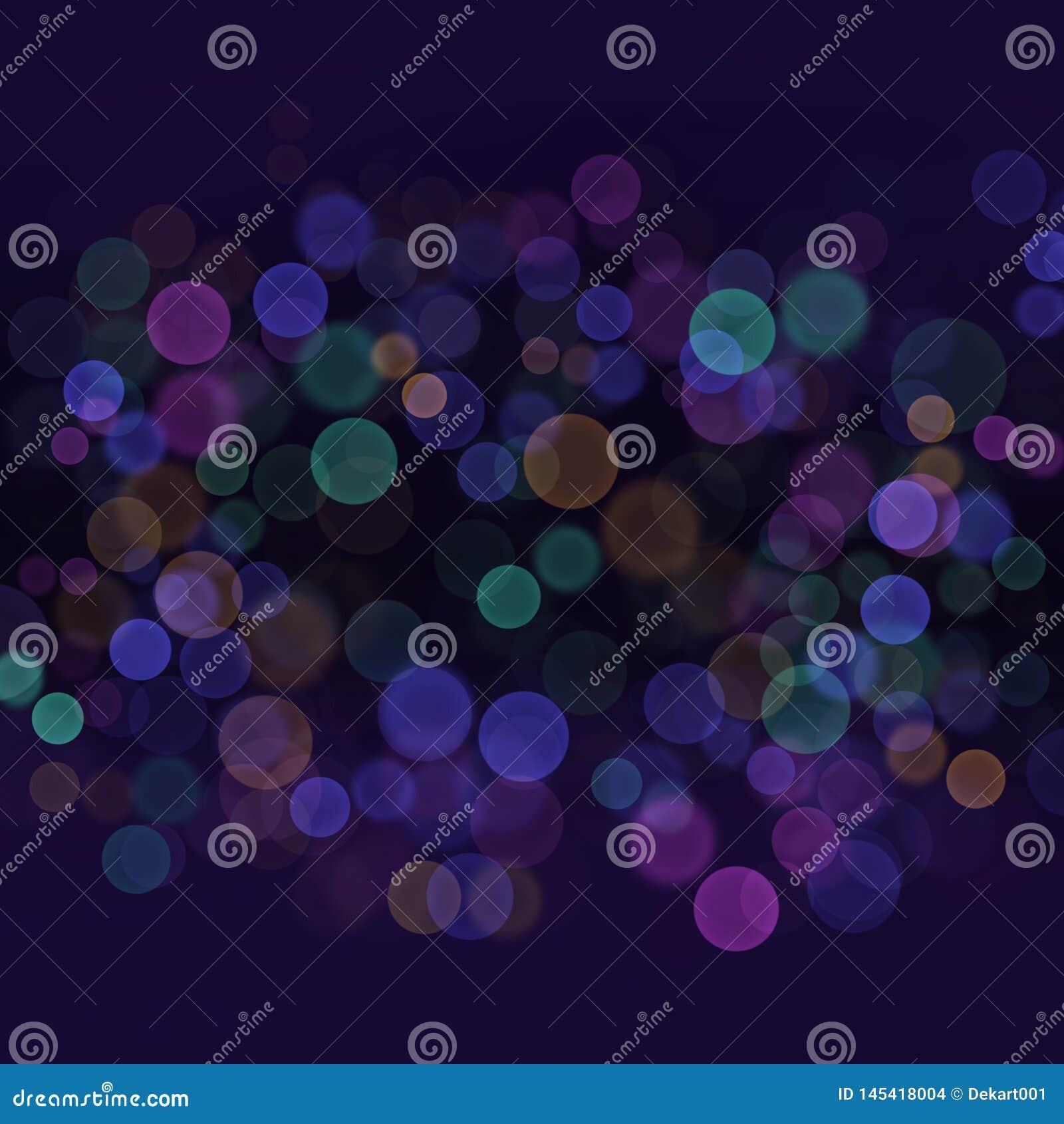 Bokeh ligero de la falta de definición del extracto con el fondo azul marino de los colores multi