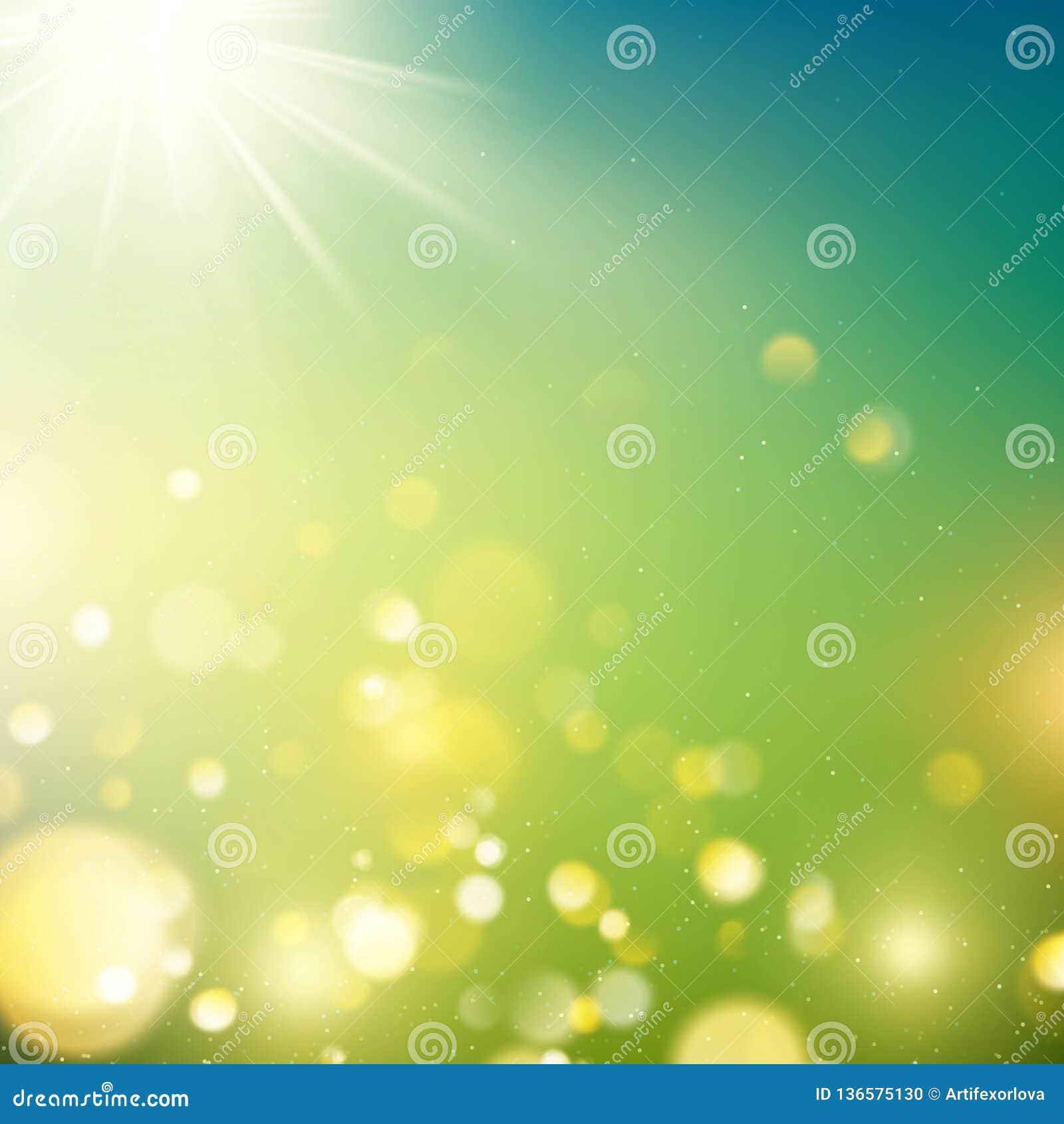 Bokeh realista del aire libre en tonos verdes y amarillos con los rayos del sol EPS 10