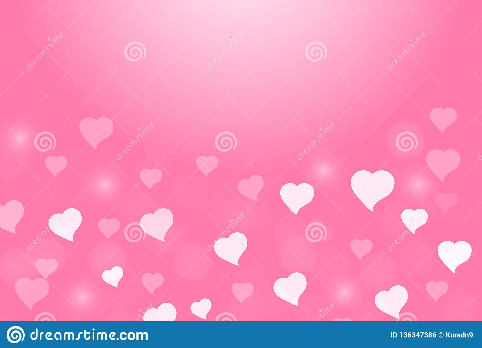 Valentine Heart And Love Light Bokeh In Pink Background