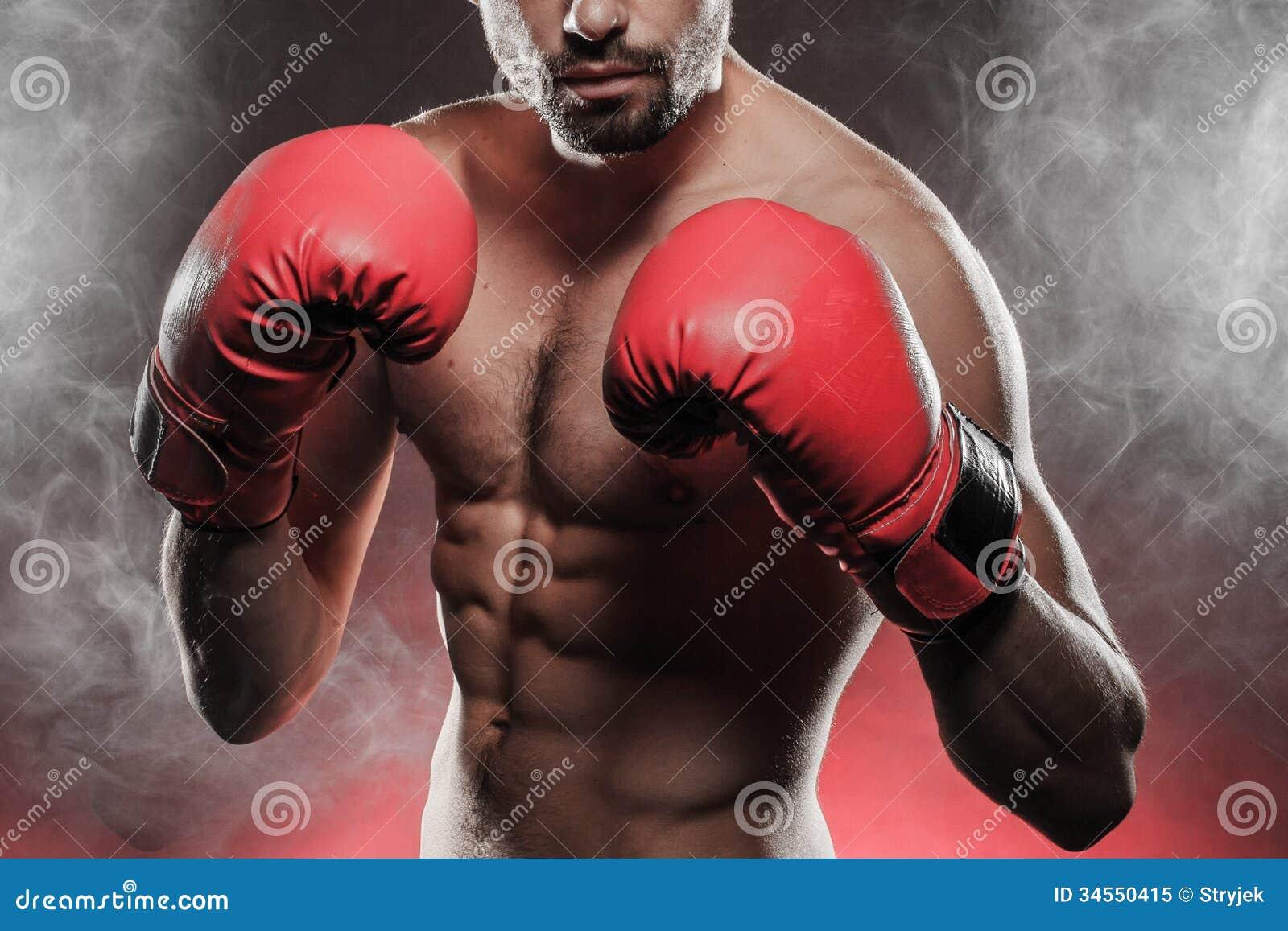 Bokser przygotowywający walczyć