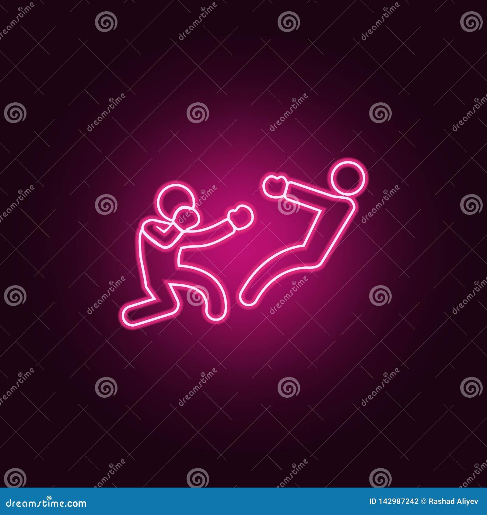 Boksera knockdown ikona Elementy walka w neonowych stylowych ikonach Prosta ikona dla stron internetowych, sieć projekt, mobilny