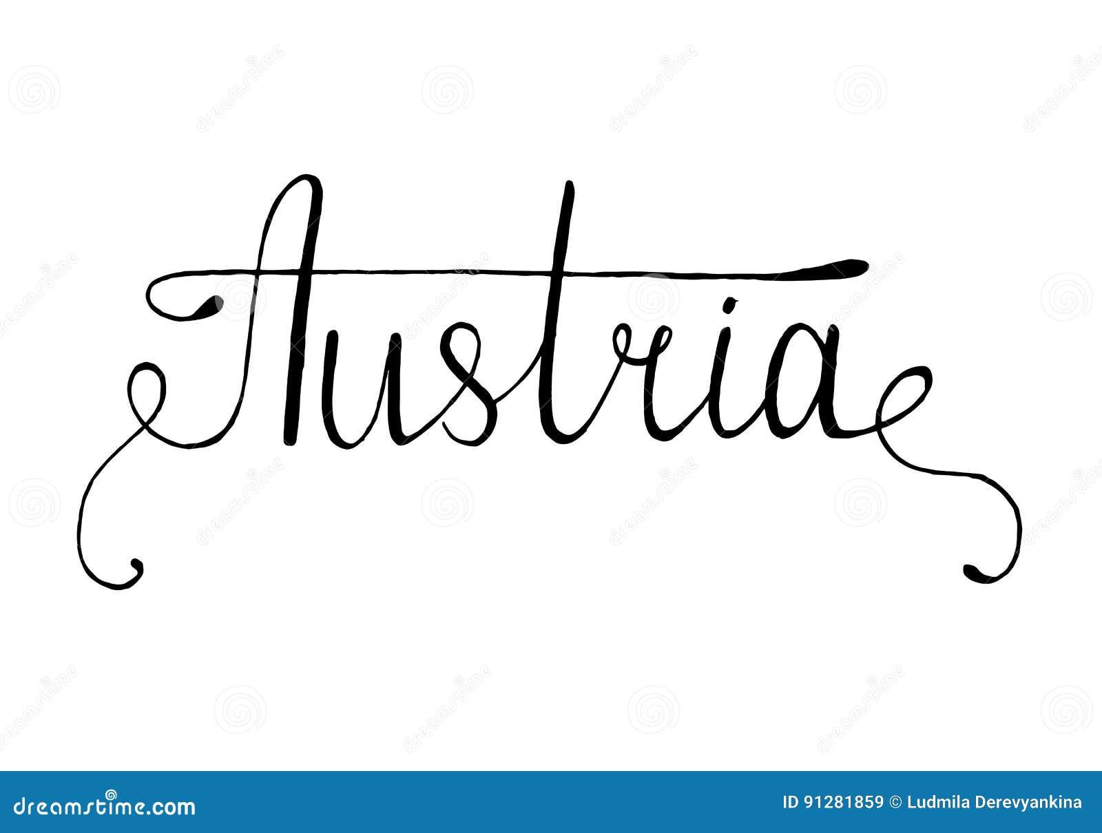Bokstäver för Österrike hand dragen färgpulverborste Kalligrafiord Österrike Österrike nationellt symbol