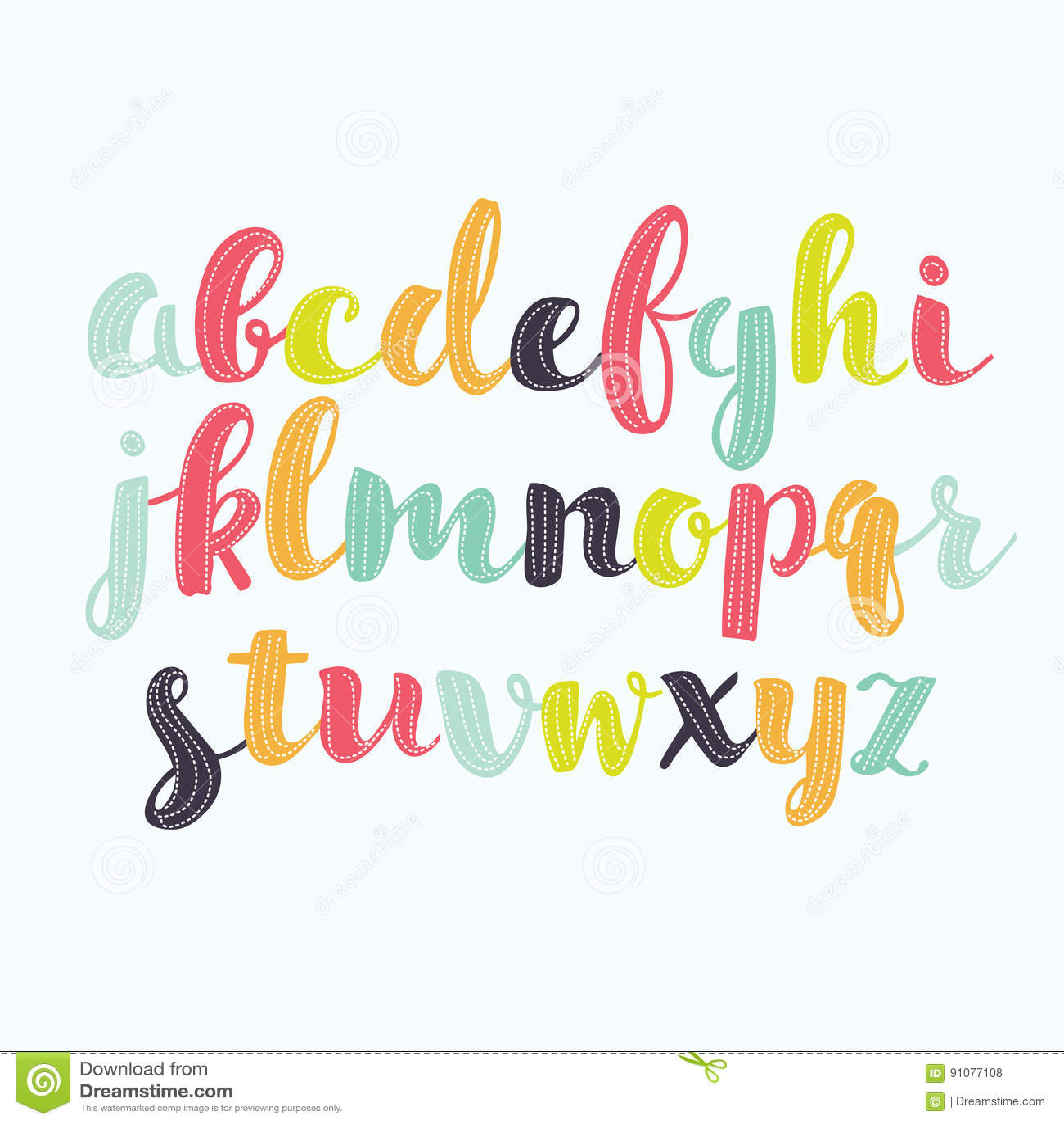 Bokstäver för alfabet för abc för klotter för attraktion för hand för färgrik typ för vattenfärgaquarellestilsort handskrivna