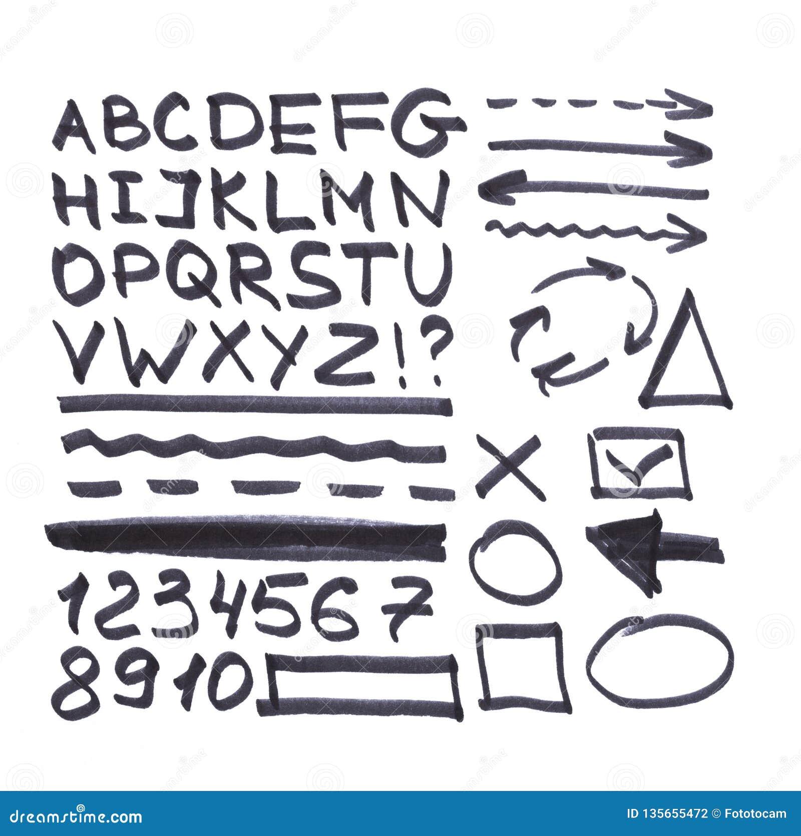 Bokstäver nummer, pilar, matematiska symboler, linjer som är skriftliga i svart markör
